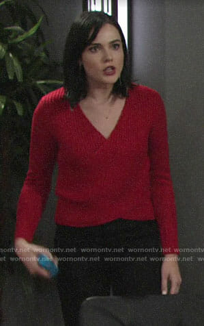Tessa's red criss cross sweater on The Young and the Restless