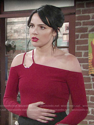 Tessa's red one-shoulder top on The Young and the Restless