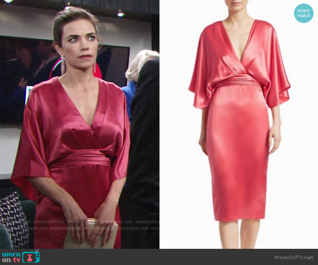 Theia Quarter-Sleeve Cocktail Dress worn by Victoria Newman (Amelia Heinle) on The Young & the Restless
