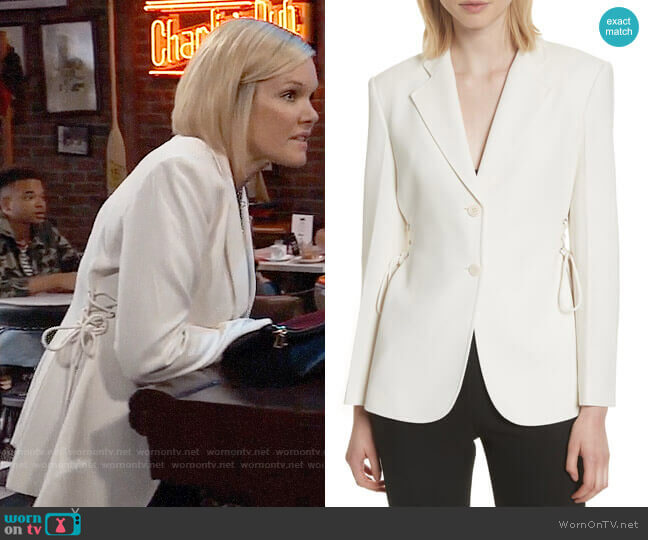 Theory Admiral Lace-Up Crepe Jacket worn by Maura West on General Hospital