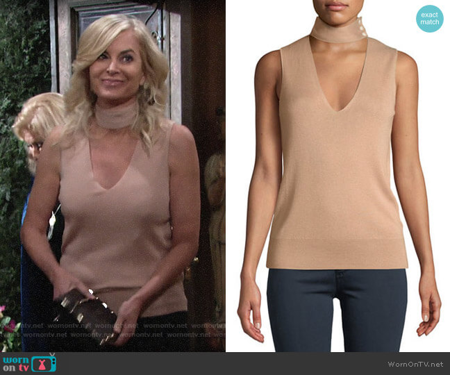 Theory Choker-Collar V-Neck Sleeveless Fine Silk/Cashmere Top worn by Eileen Davidson on The Young & the Restless