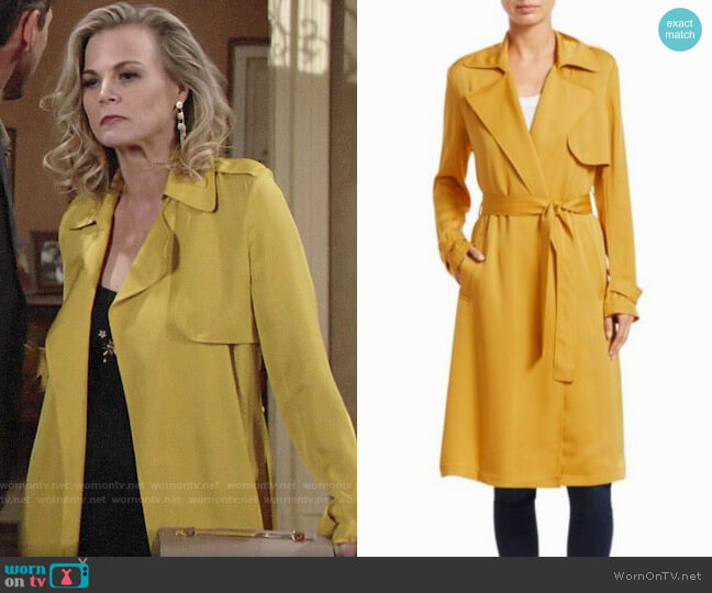 Theory Oaklane Trench worn by Gina Tognoni on The Young & the Restless