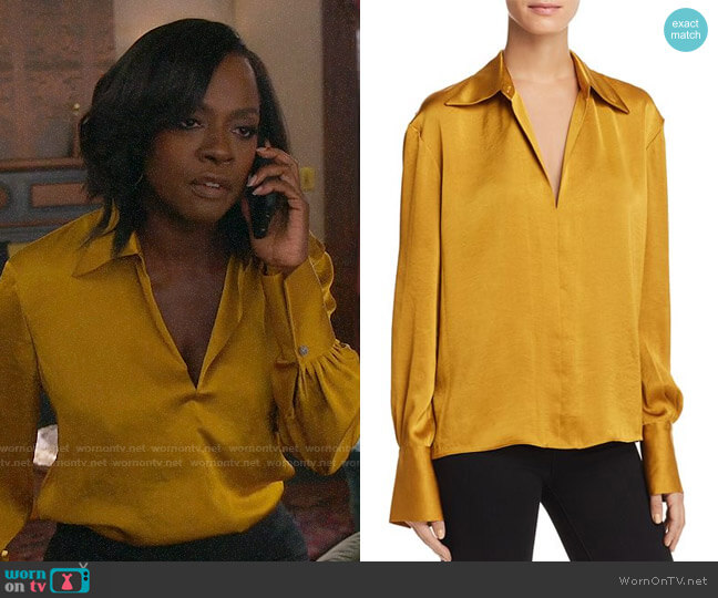 Theory Spread Collar Blouse in Goldfinch worn by Annalise Keating (Viola Davis) on HTGAWM