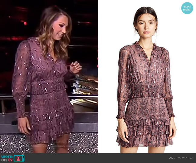 Snake Smock Dress by Rebecca Taylor worn by Ginger Zee on Good Morning America