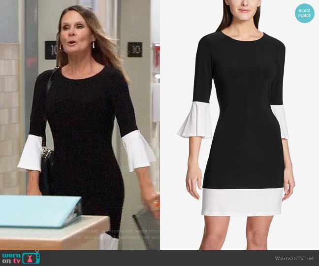 Tommy Hilfiger Colorblocked Bell-Sleeve Dress worn by Lynn Herring on General Hospital