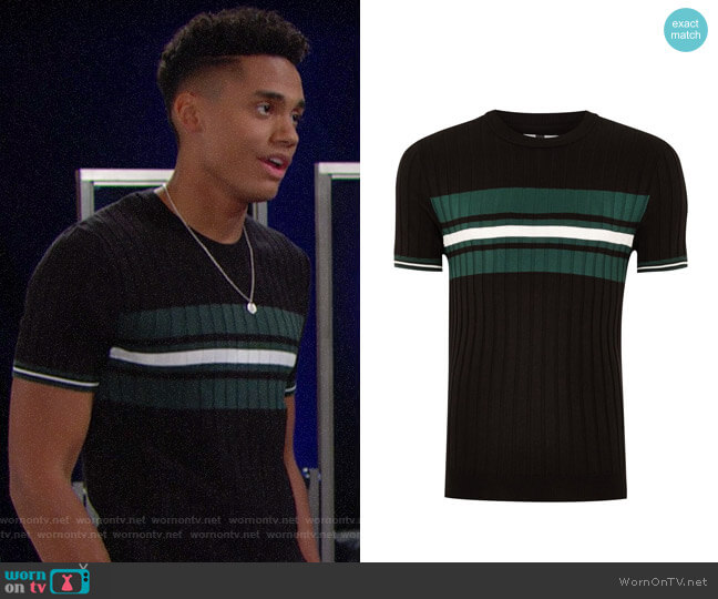 Topman Black And Teal Stripe Ribbed Sweater worn by Xander Avant (Adain Bradley) on The Bold & the Beautiful