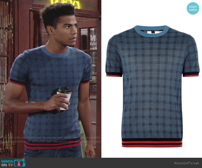 Topman Blue Check Tipping Sweater worn by Charlie Ashby (Noah Alexander Gerry) on The Young & the Restless