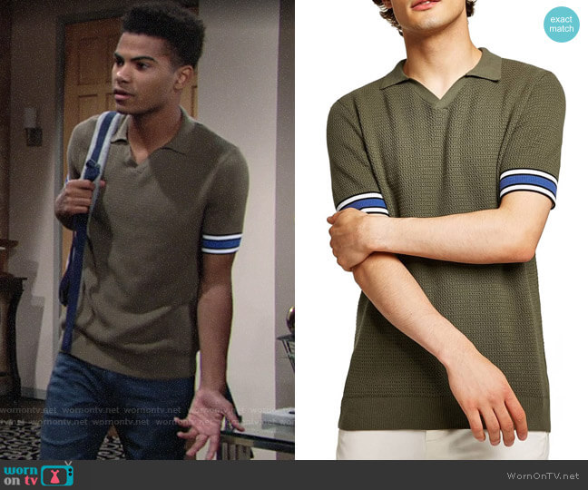 Topman Revere Collar Polo worn by Charlie Ashby (Noah Alexander Gerry) on The Young & the Restless
