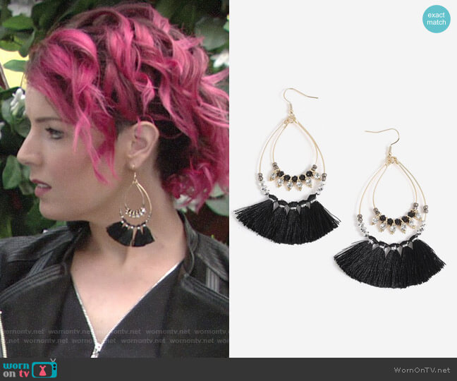 Topshop Facet Bead Tassel Drop Earrings worn by Sinead on The Young and the Restless
