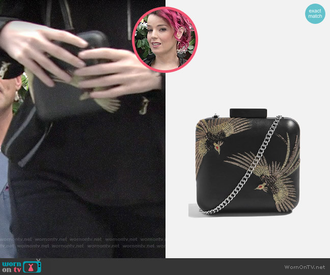Topshop Real Leather Bird Boxy Clutch worn by Sinead on The Young and the Restless