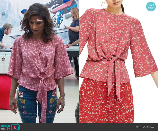 Topshop Spot Knot Front Blouse worn by Emet Kamala-Sweetzer (Sarayu Blue) on I Feel Bad