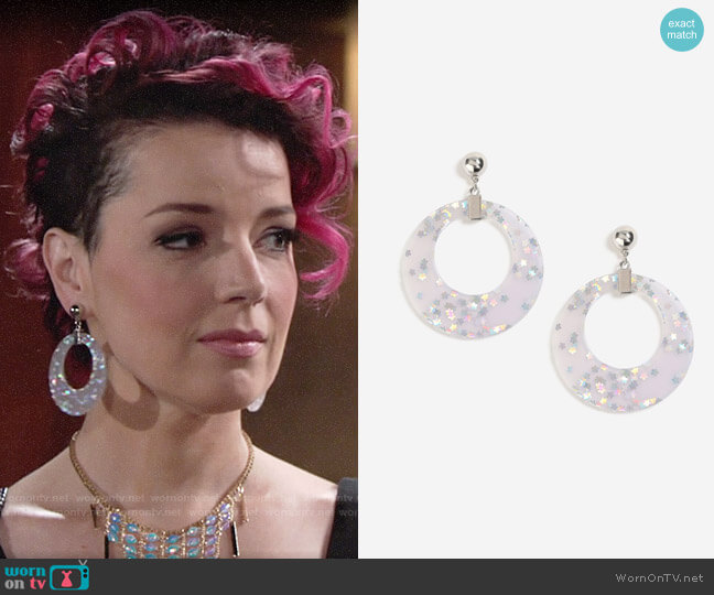 Topshop Glitter Star Hoop Earrings worn by Sinead on The Young and the Restless