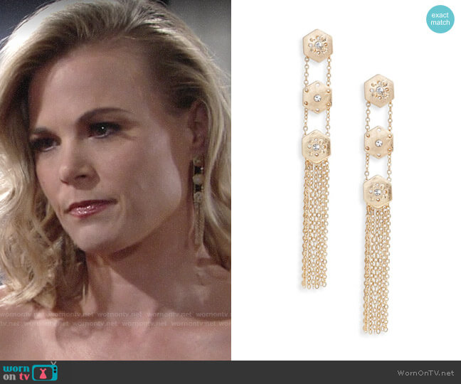 Treasure & Bond Crystal Fringe Linear Drop Earrings worn by Phyllis Newman (Gina Tognoni) on The Young & the Restless