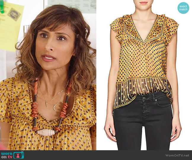 Ulla Johnson Avery Top worn by Sarayu Blue on I Feel Bad