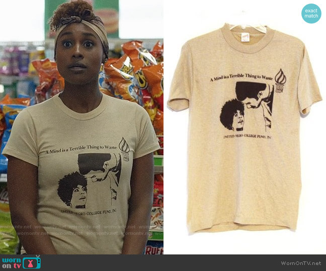 Vintage UNCF A Mind is a Terrible Thing to Waste T-shirt worn by Issa Dee (Issa Rae) on Insecure
