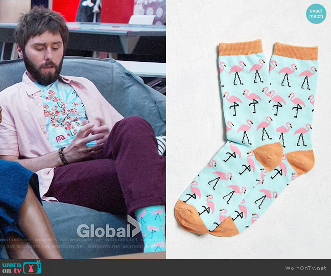 Urban Outfitters Flamingo Socks worn by James Buckley on I Feel Bad