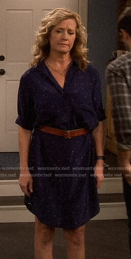 Vanessa's navy star print shirtdress on Last Man Standing