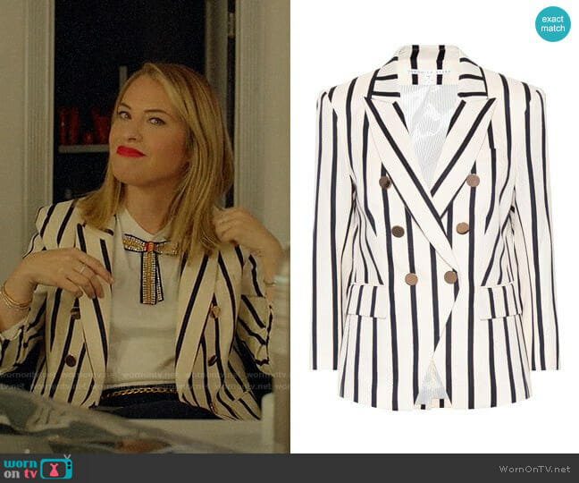 Veronica Beard Empire Striped Dickey Blazer worn by Leslie Grossman on American Horror Story