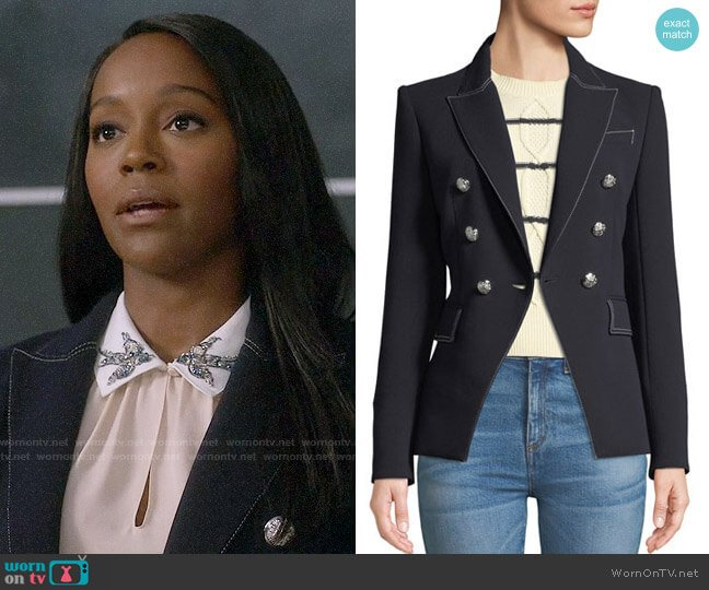 Veronica Beard Miller Blazer in Navy worn by Michaela Pratt (Aja Naomi King) on HTGAWM
