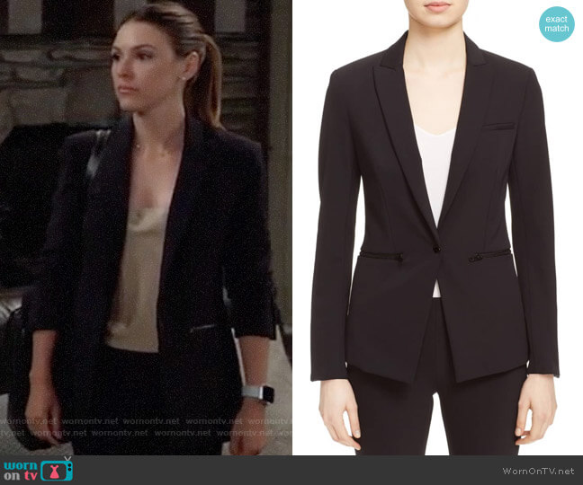 Veronica Beard Scuba Blazer worn by Margaux Dawson (Elizabeth Hendrickson) on General Hospital