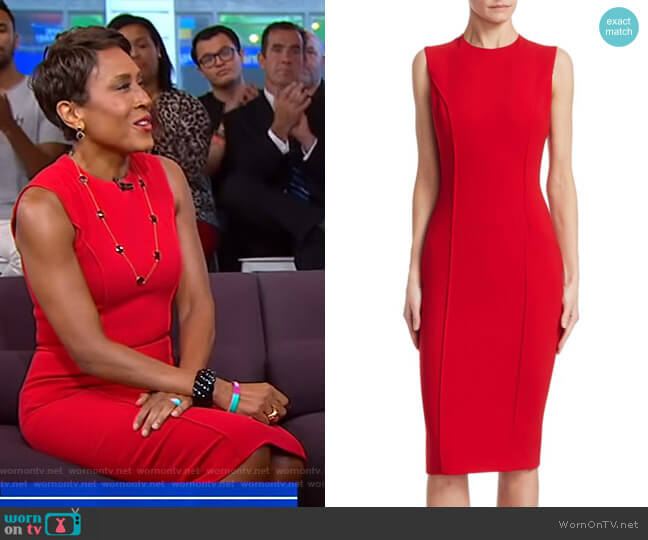 Curve Seam Sheath Dress by Victoria Beckham worn by Robin Roberts on Good Morning America
