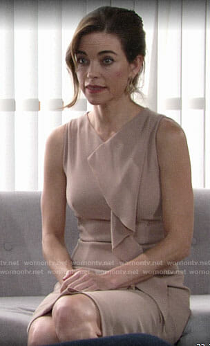 Victoria's sleeveless dress with ruffle front on The Young and the Restless