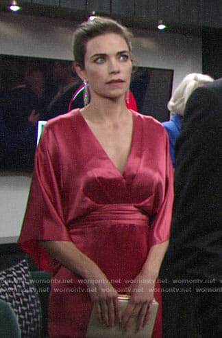 Victoria's pink kimono sleeve dress on The Young and the Restless