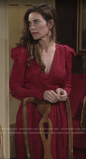 Victoria's red puff-shoulder dress on The Young and the Restless