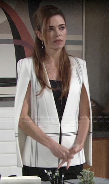Victoria's white checked cape jacket on The Young and the Restless