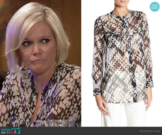 Vince Basketweave Print Blouse worn by Ava Jerome (Maura West) on General Hospital