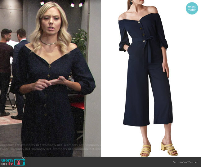 Abby's off-shoulder jumpsuit on The Young and the Restless