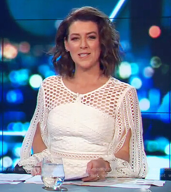 Gorgi's white lace split sleeve dress on The Project