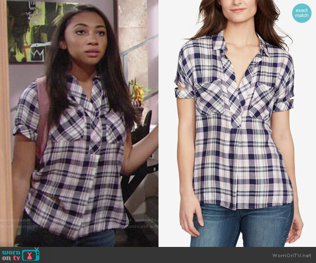 William Rast Plaid V-Neck Shirt worn by Shauna (Camryn Hamm) on The Young & the Restless