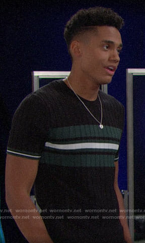 Xander's black and green striped short-sleeve sweater on The Bold and the Beautiful