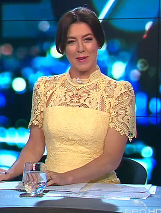 Gorgi's yellow lace dress on The Project
