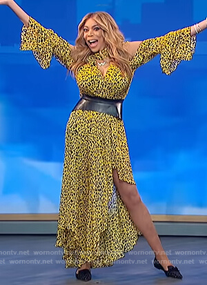Wendy's yellow leopard print dress on The Wendy Williams Show