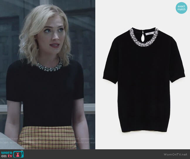 Pearl Sweater by Zara worn by The Frost Sisters (Skyler Samuels) on The Gifted