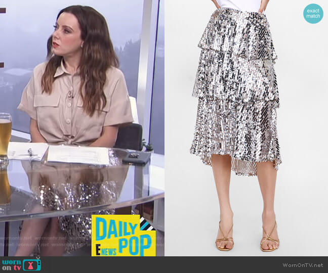 16b8b418a4 Sequin Ruffled Skirt by Zara worn by Melanie Bromley (Melanie Bromley) on E!