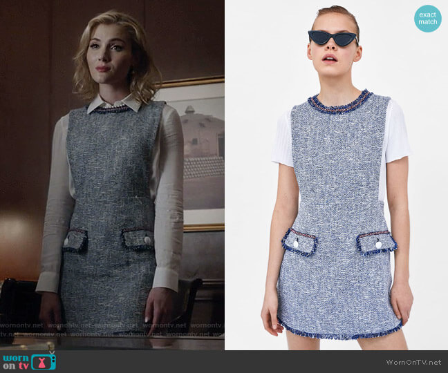 Textured Weave Dress with Buttons by Zara worn by Skyler Samuels on The Gifted