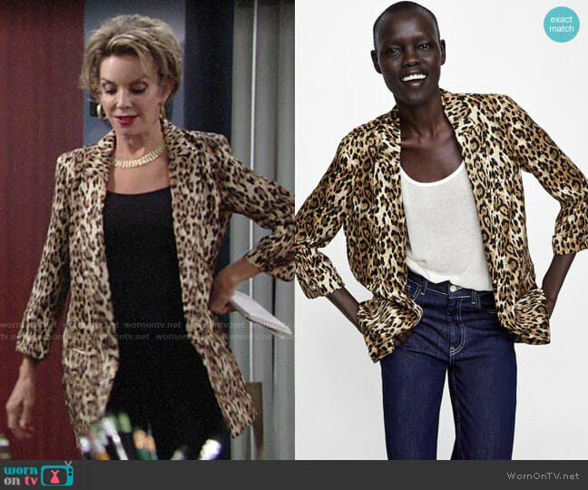 Zara Animal Print Blazer worn by Judith Chapman on The Young & the Restless