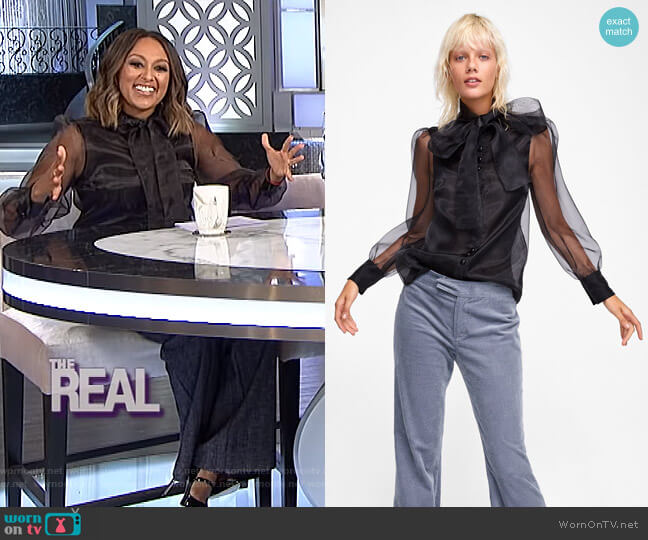 Blouse with Tied Bow by Zara worn by Tamera Mowry (Tamera Mowry) on The Real