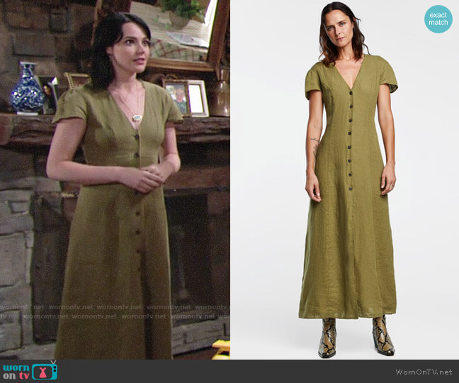 Zara Long Linen Dress worn by Tessa Porter (Cait Fairbanks) on The Young & the Restless