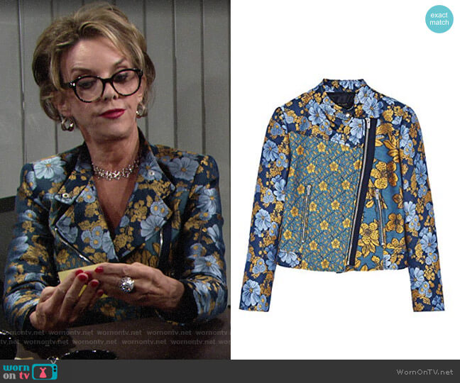 Zara Patchwork Jacket worn by Gloria Abbott Bardwell (Judith Chapman) on The Young & the Restless