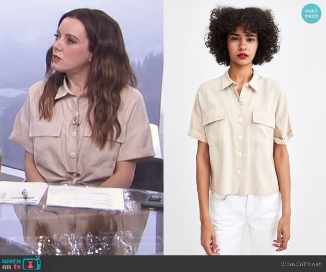 Short Shirt by Zara worn by Melanie Bromley on E! News