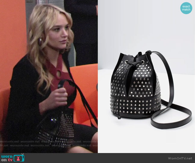 Zara Studded Bucket Bag worn by Summer Newman (Hunter King) on The Young & the Restless