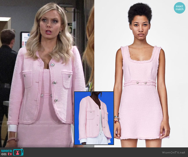 Zara Pink Tweed Mini Dress and Blazer worn by Abby Newman (Melissa Ordway) on The Young & the Restless
