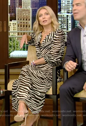 Kelly's zebra print long sleeve dress on Live with Kelly and Ryan