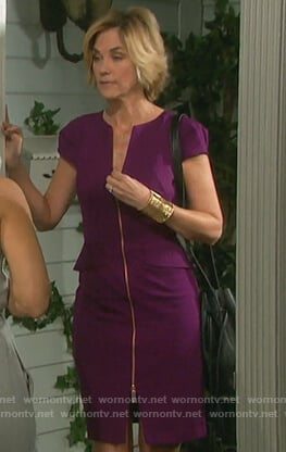 Eve's purple zip-front dress on Days of our Lives