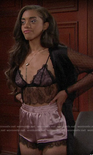 Zoe's black and pink lace lingerie on The Bold and the Beautiful