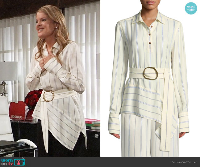 Derek Lam 10 Crosby Long-Sleeve Belted Asymmetric Shirt worn by Michelle Stafford on General Hospital